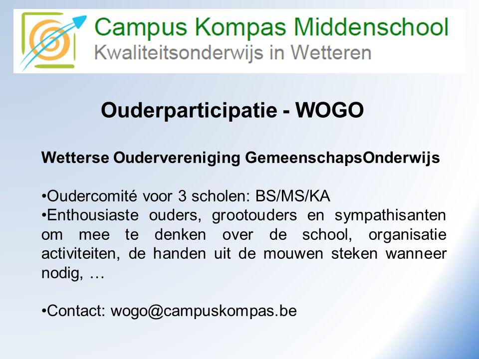 Camus Kompas Kwaliteitsonderwijs in Wetteren Ouderparticipatie - WOGO Wetterse Oudervereniging GemeenschapsOnderwijs •Oudercomité voor 3 scholen: BS/M