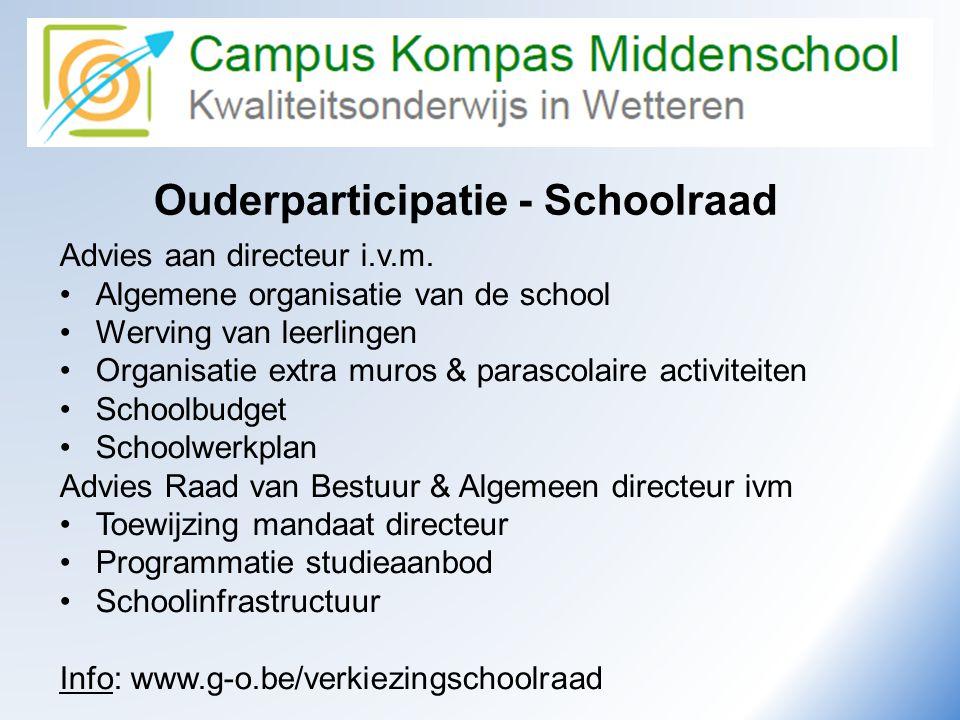 Camus Kompas Kwaliteitsonderwijs in Wetteren Ouderparticipatie - Schoolraad Advies aan directeur i.v.m. •Algemene organisatie van de school •Werving v