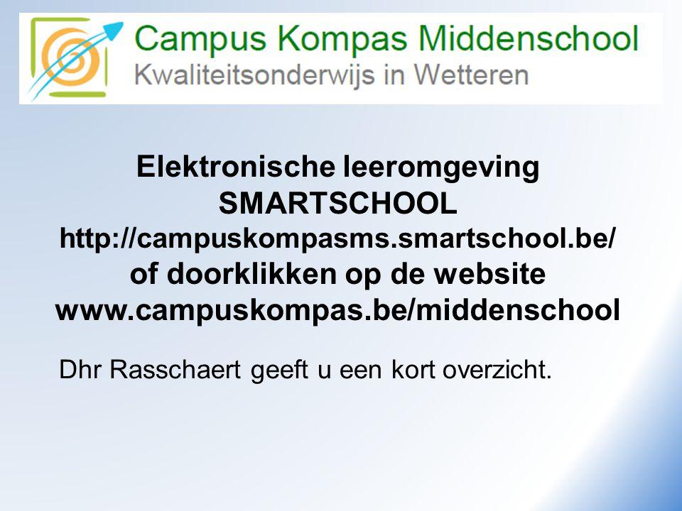 Elektronische leeromgeving SMARTSCHOOL http://campuskompasms.smartschool.be/ of doorklikken op de website www.campuskompas.be/middenschool Dhr Rasscha