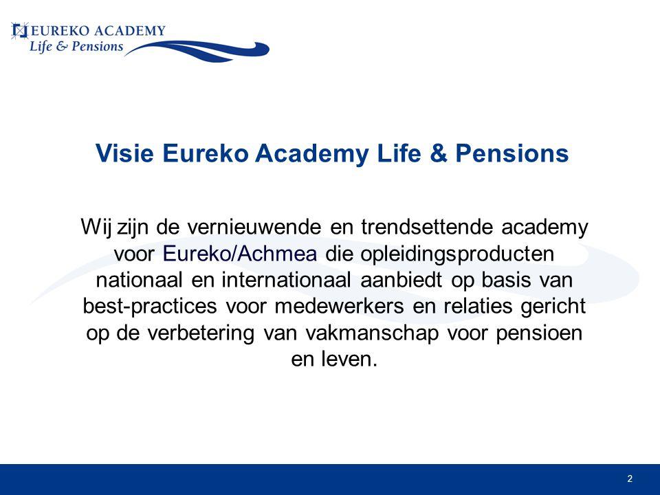 2 Visie Eureko Academy Life & Pensions Wij zijn de vernieuwende en trendsettende academy voor Eureko/Achmea die opleidingsproducten nationaal en internationaal aanbiedt op basis van best-practices voor medewerkers en relaties gericht op de verbetering van vakmanschap voor pensioen en leven.