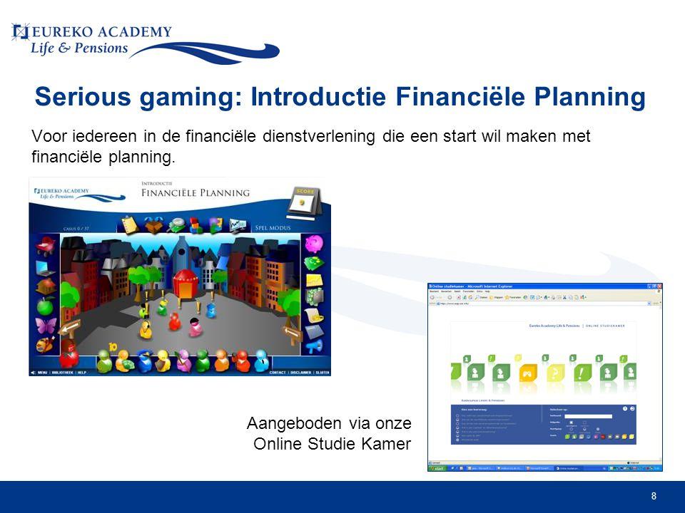 8 Serious gaming: Introductie Financiële Planning Voor iedereen in de financiële dienstverlening die een start wil maken met financiële planning.