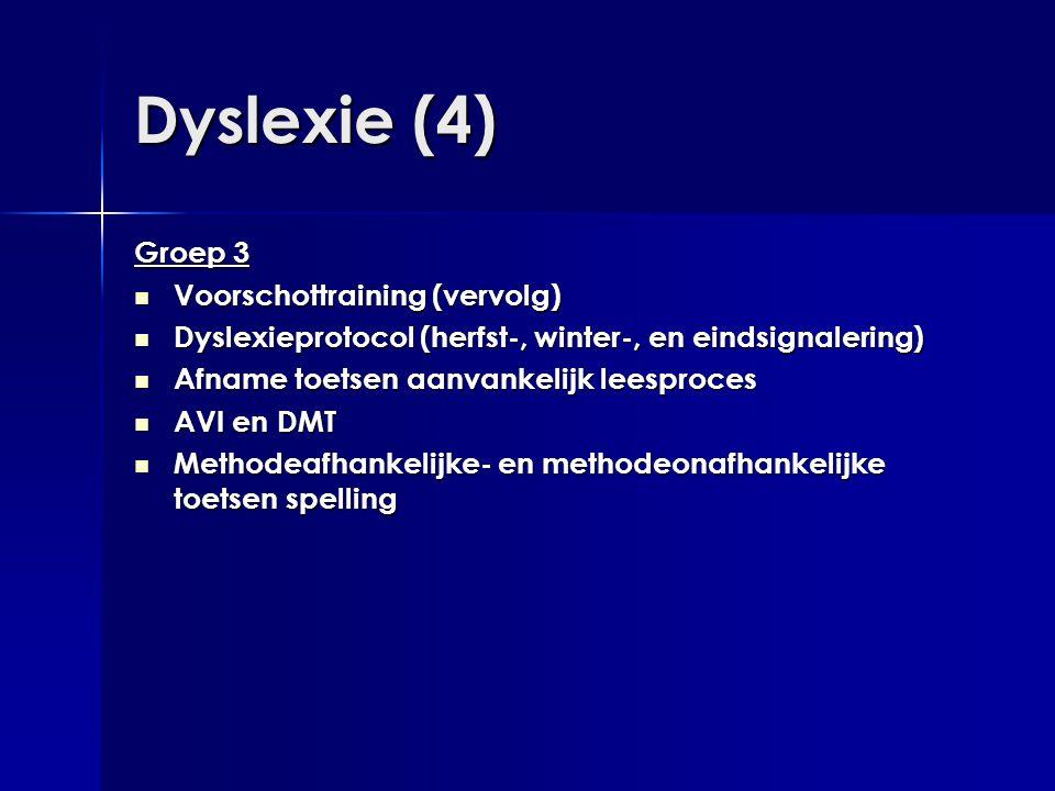 Dyslexie (4) Groep 3  Voorschottraining (vervolg)  Dyslexieprotocol (herfst-, winter-, en eindsignalering)  Afname toetsen aanvankelijk leesproces