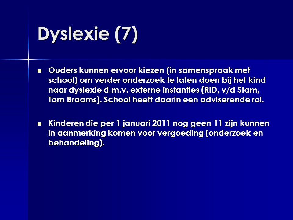 Dyslexie (7)  Ouders kunnen ervoor kiezen (in samenspraak met school) om verder onderzoek te laten doen bij het kind naar dyslexie d.m.v. externe ins