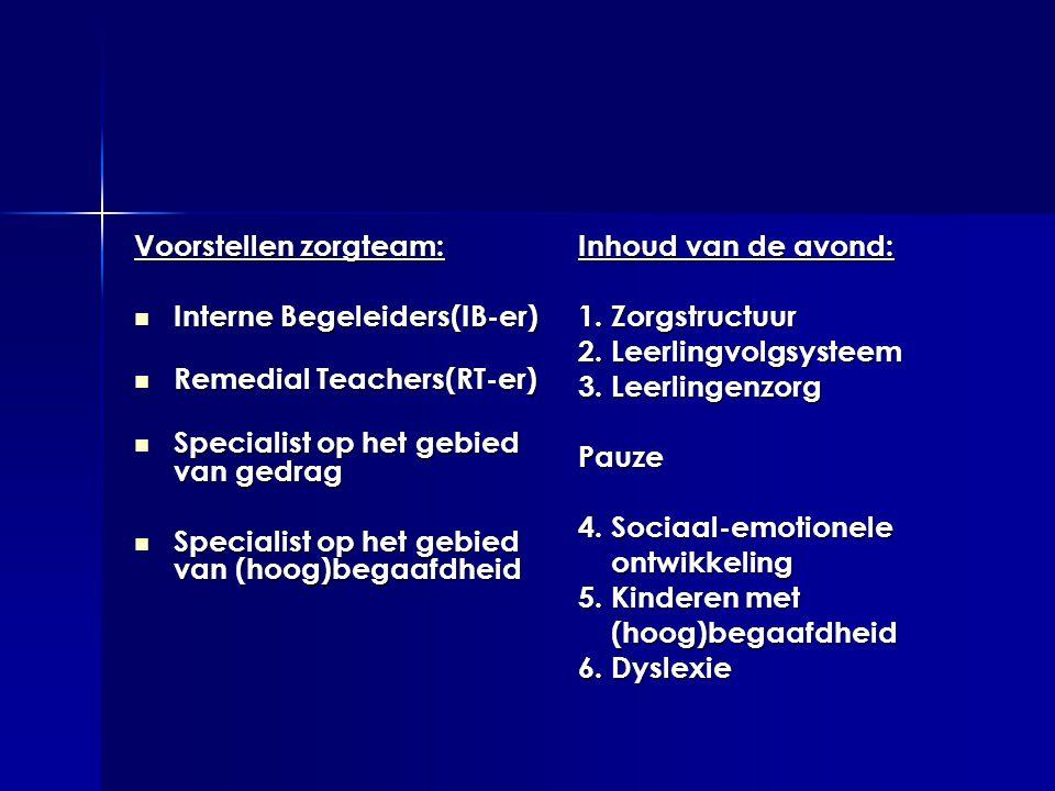 Voorstellen zorgteam:  Interne Begeleiders(IB-er)  Remedial Teachers(RT-er)  Specialist op het gebied van gedrag  Specialist op het gebied van (ho