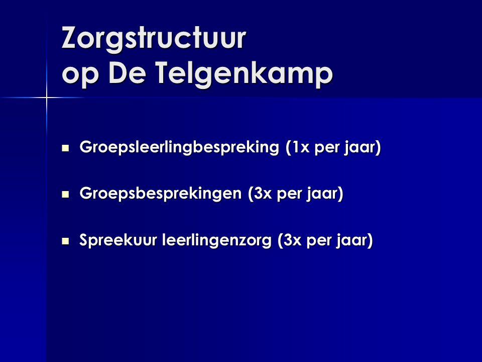 Zorgstructuur op De Telgenkamp  Groepsleerlingbespreking (1x per jaar)  Groepsbesprekingen (3x per jaar)  Spreekuur leerlingenzorg (3x per jaar)