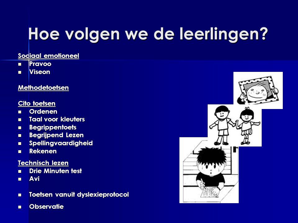 Hoe volgen we de leerlingen? Sociaal emotioneel  Pravoo  Viseon Methodetoetsen Cito toetsen  Ordenen  Taal voor kleuters  Begrippentoets  Begrij