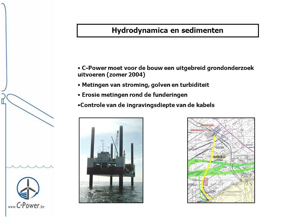 Hydrodynamica en sedimenten • C-Power moet voor de bouw een uitgebreid grondonderzoek uitvoeren (zomer 2004) • Metingen van stroming, golven en turbiditeit • Erosie metingen rond de funderingen •Controle van de ingravingsdiepte van de kabels