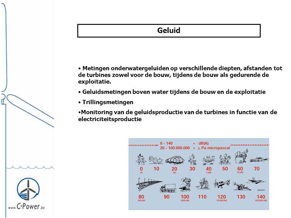 Geluid • Metingen onderwatergeluiden op verschillende diepten, afstanden tot de turbines zowel voor de bouw, tijdens de bouw als gedurende de exploitatie.