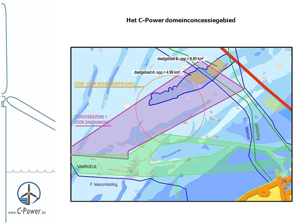 De inplanting van de windturbines binnen het domeinconcessiegebied