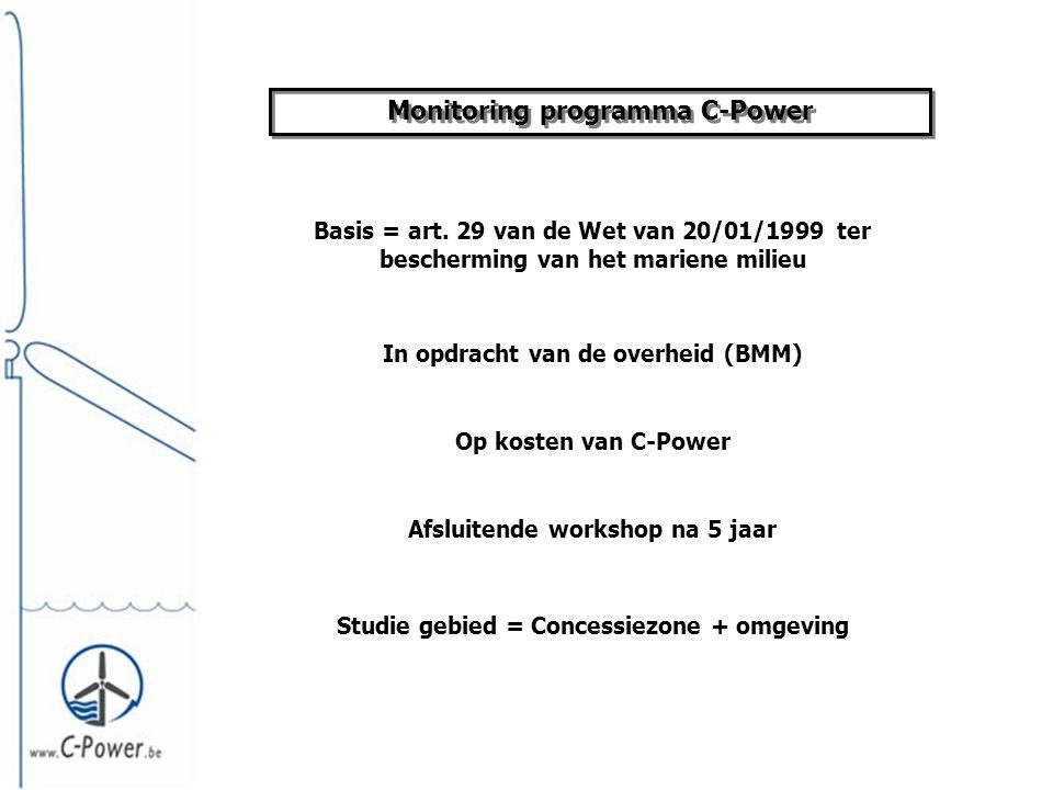 Het monitoring plan Basis = resultaten MER + voorstellen BMM advies Monitoring programma Jaarlijkse beoordeling van de resultaten + eventuele bijsturingen Monitoring voor de werken in jaar 0 Monitoring gedurende de eerste 5 operationele jaren