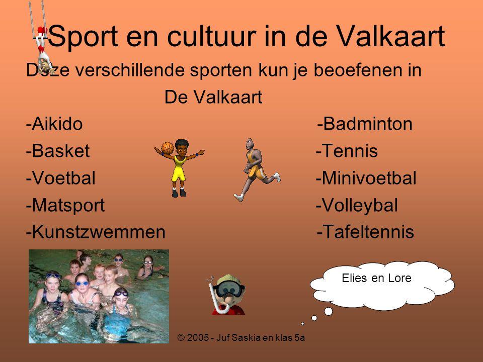 © 2005 - Juf Saskia en klas 5a Sport en cultuur in de Valkaart Deze verschillende sporten kun je beoefenen in De Valkaart -Aikido -Badminton -Basket-T