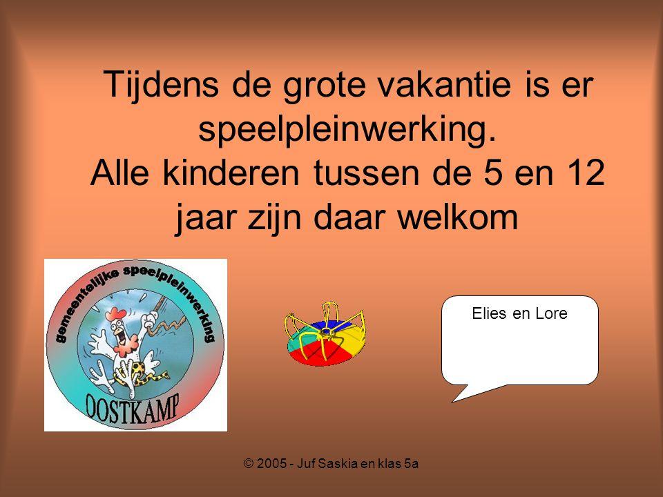 © 2005 - Juf Saskia en klas 5a Tijdens de grote vakantie is er speelpleinwerking. Alle kinderen tussen de 5 en 12 jaar zijn daar welkom Elies en Lore