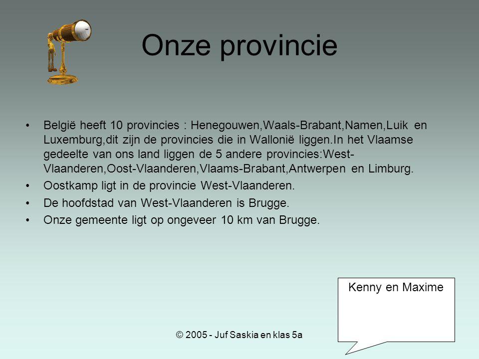 © 2005 - Juf Saskia en klas 5a Onze provincie •België heeft 10 provincies : Henegouwen,Waals-Brabant,Namen,Luik en Luxemburg,dit zijn de provincies di