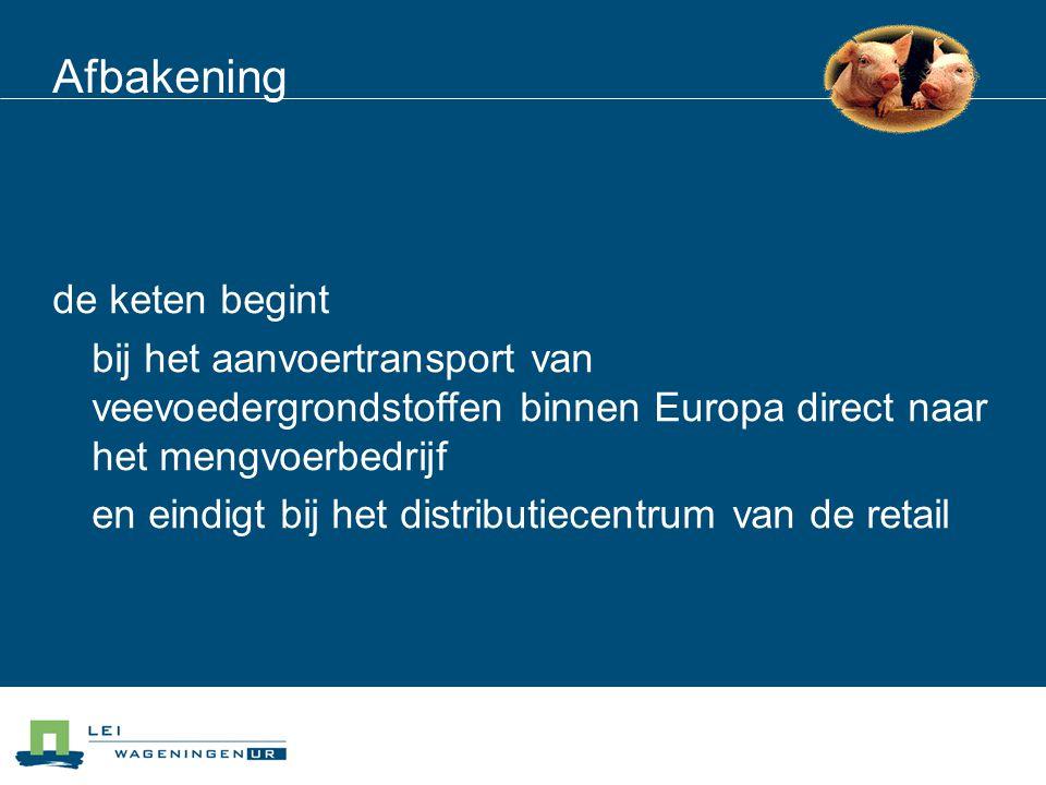 Afbakening de keten begint bij het aanvoertransport van veevoedergrondstoffen binnen Europa direct naar het mengvoerbedrijf en eindigt bij het distributiecentrum van de retail