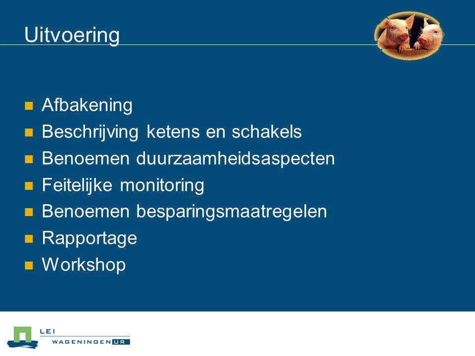 Uitvoering  Afbakening  Beschrijving ketens en schakels  Benoemen duurzaamheidsaspecten  Feitelijke monitoring  Benoemen besparingsmaatregelen  Rapportage  Workshop