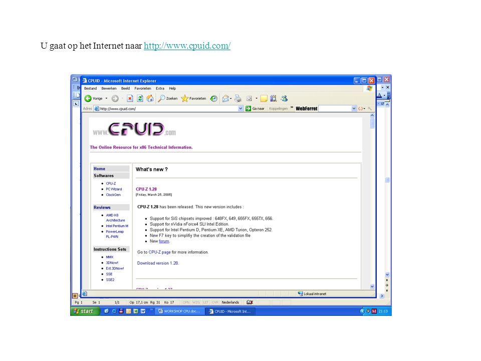 Vervolgens klikt u op CPU-Z