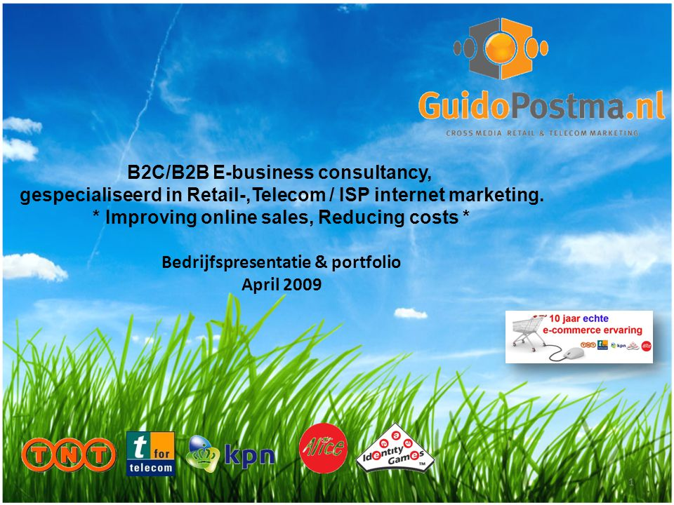 B2C/B2B E-business consultancy, gespecialiseerd in Retail-,Telecom / ISP internet marketing.