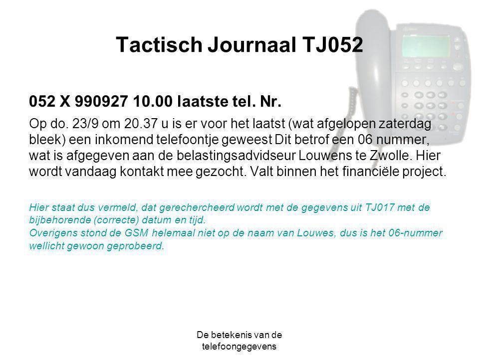De betekenis van de telefoongegevens Tactisch Journaal TJ052 052 X 990927 10.00 laatste tel. Nr. Op do. 23/9 om 20.37 u is er voor het laatst (wat afg