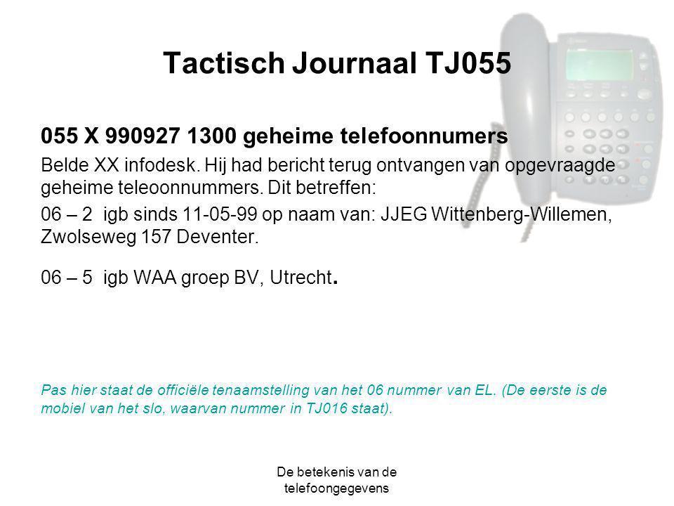 De betekenis van de telefoongegevens Tactisch Journaal TJ055 055 X 990927 1300 geheime telefoonnumers Belde XX infodesk. Hij had bericht terug ontvang
