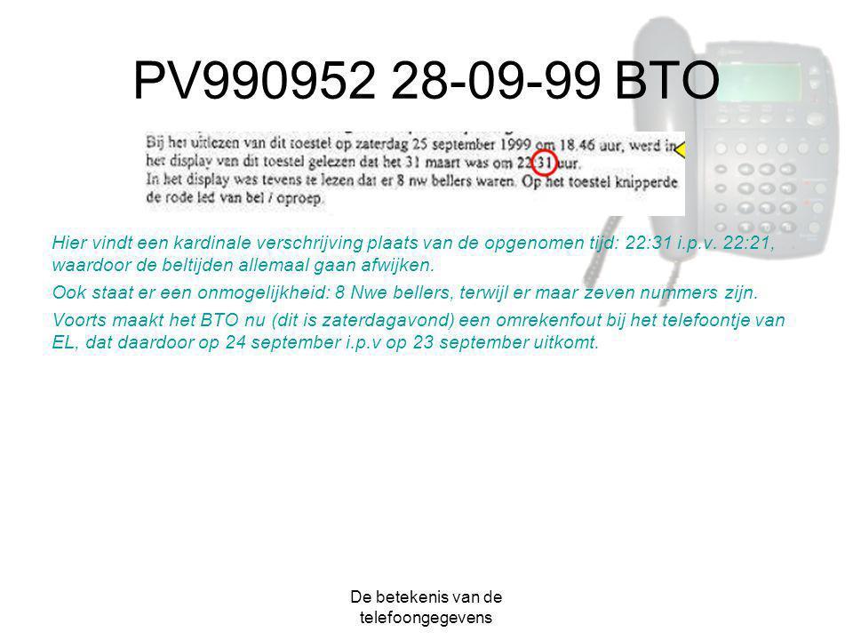 De betekenis van de telefoongegevens PV990952 28-09-99 BTO Hier vindt een kardinale verschrijving plaats van de opgenomen tijd: 22:31 i.p.v. 22:21, wa