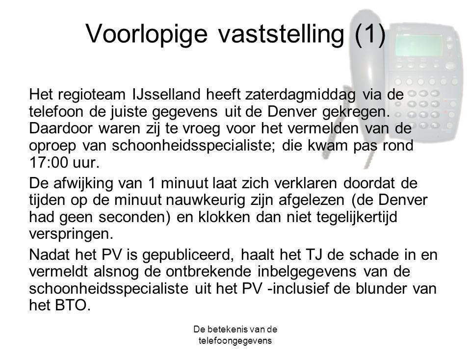 De betekenis van de telefoongegevens Voorlopige vaststelling (1) Het regioteam IJsselland heeft zaterdagmiddag via de telefoon de juiste gegevens uit
