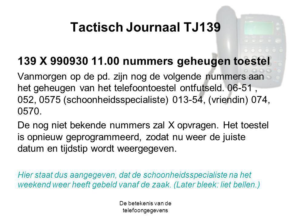 De betekenis van de telefoongegevens Tactisch Journaal TJ139 139 X 990930 11.00 nummers geheugen toestel Vanmorgen op de pd. zijn nog de volgende numm