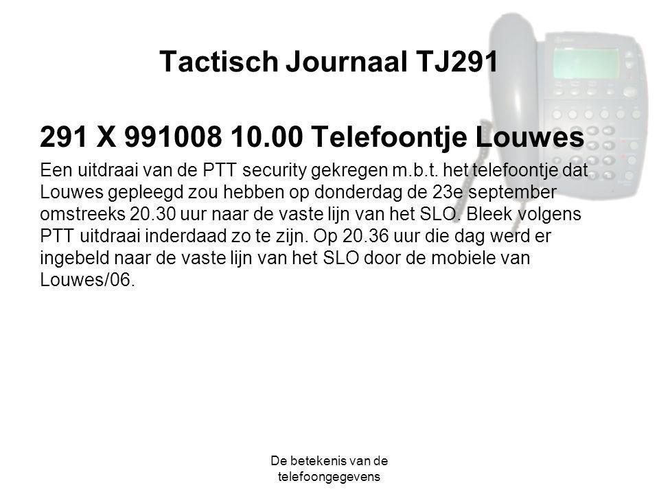 De betekenis van de telefoongegevens Tactisch Journaal TJ291 291 X 991008 10.00 Telefoontje Louwes Een uitdraai van de PTT security gekregen m.b.t. he