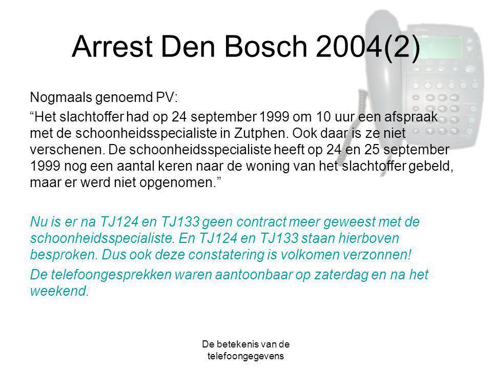 """De betekenis van de telefoongegevens Arrest Den Bosch 2004(2) Nogmaals genoemd PV: """"Het slachtoffer had op 24 september 1999 om 10 uur een afspraak me"""