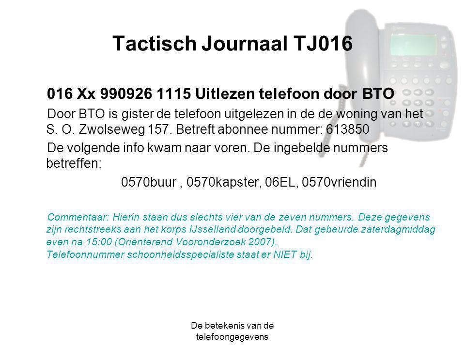De betekenis van de telefoongegevens Tactisch Journaal TJ016 016 Xx 990926 1115 Uitlezen telefoon door BTO Door BTO is gister de telefoon uitgelezen i