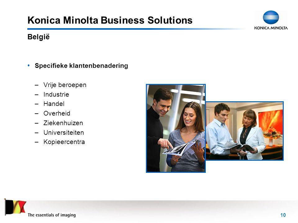 10 Konica Minolta Business Solutions • Specifieke klantenbenadering –Vrije beroepen –Industrie –Handel –Overheid –Ziekenhuizen –Universiteiten –Kopiee