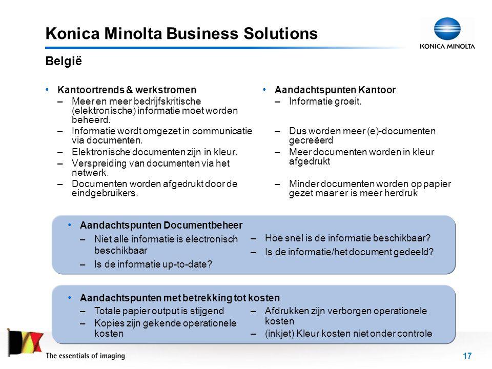 18 Konica Minolta Business Solutions België NetwerkCopier, Printer, Fax, ScannerColor e-Multifunctional Copier Fax Z&W laserprinters (Inkjet) kleurenprinters Scanner & toepassingen E-mail-server Fax-server Beperkte Formaten en Papiersoorten Geen afwerkings- mogelijkheden Verschillende interfaces en toepassingen Gekende Operationele Kosten Gecontroleerde Kleuren Beschikbaarheid Back Office Connectiviteit ERP, Unix/Linux, AS/400, Citrix… Archief, DMS Web… Beperkte Formaten en Papiersoorten Geen afwerkings- mogelijkheden Verschillende interfaces en toepassingen
