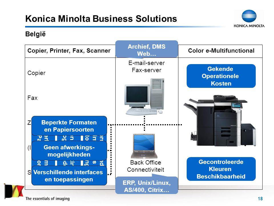 19 Konica Minolta Business Solutions België PAY PER PAGE • Is de enige manier voor het verkrijgen van –al uw kantoormaterieel –alle toebehoren –alle technische diensten • binnen –één contract –voor één prijs • met beheer van uw werkstromen –in één oogopslag –beheersbaar –en flexibel • met vastgestelde diensten • zonder investeringen –in machines voor documentoutput –in documentbeheer –in connectiviteit voor de back-office