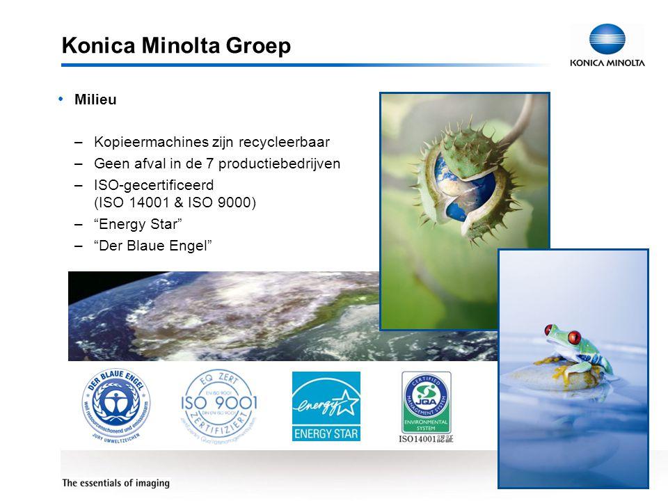 7 Konica Minolta Groep • Milieu –Kopieermachines zijn recycleerbaar –Geen afval in de 7 productiebedrijven –ISO-gecertificeerd (ISO 14001 & ISO 9000)