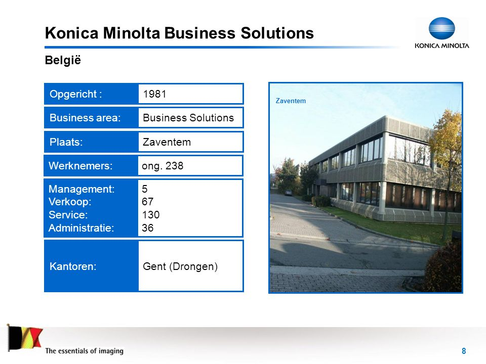 8 Headquarters in Zaventem Konica Minolta Business Solutions België Opgericht :1981Werknemers:ong. 238Business area:Business Solutions Kantoren:Gent (