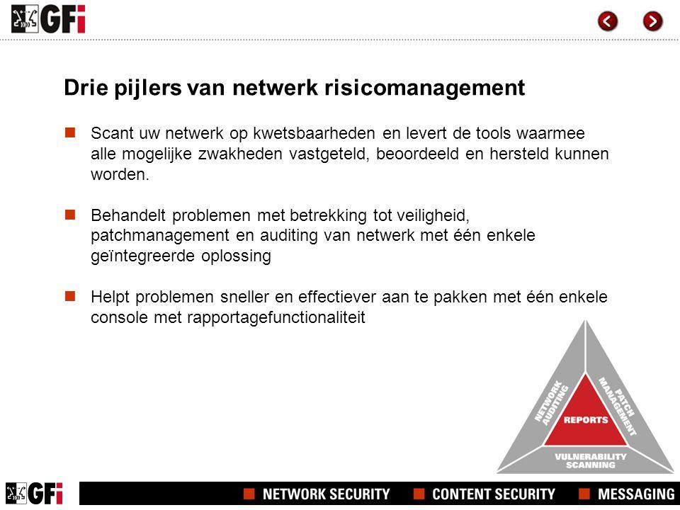 Drie pijlers van netwerk risicomanagement  Scant uw netwerk op kwetsbaarheden en levert de tools waarmee alle mogelijke zwakheden vastgeteld, beoordeeld en hersteld kunnen worden.