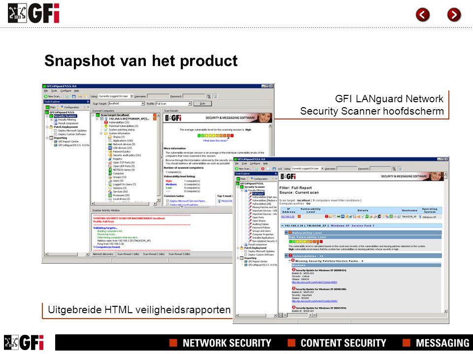 GFI LANguard Network Security Scanner hoofdscherm Uitgebreide HTML veiligheidsrapporten Snapshot van het product