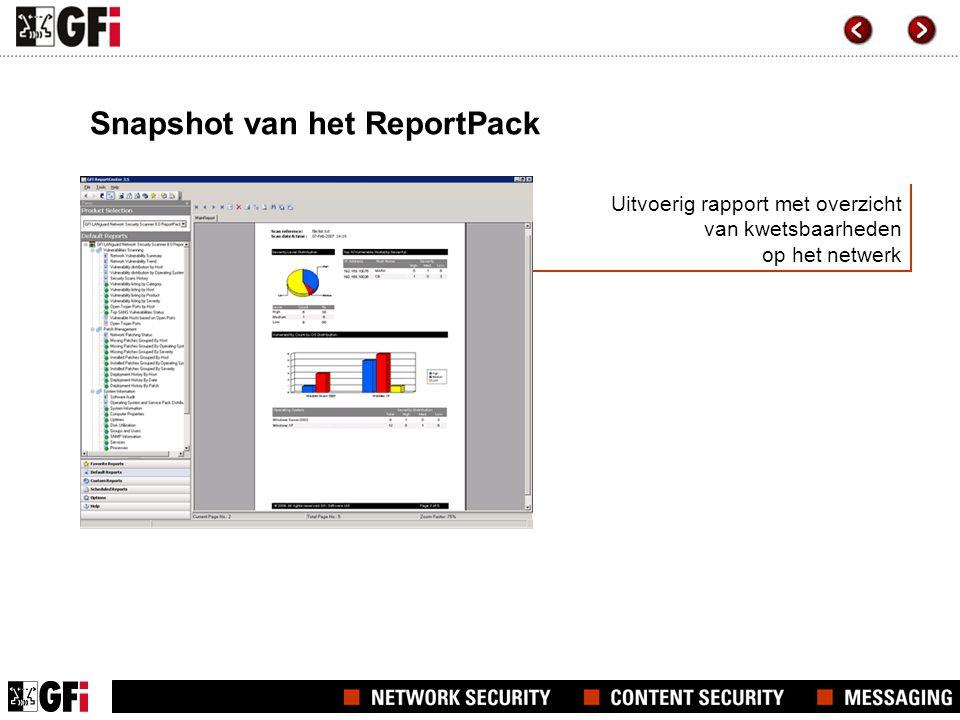 Uitvoerig rapport met overzicht van kwetsbaarheden op het netwerk Snapshot van het ReportPack