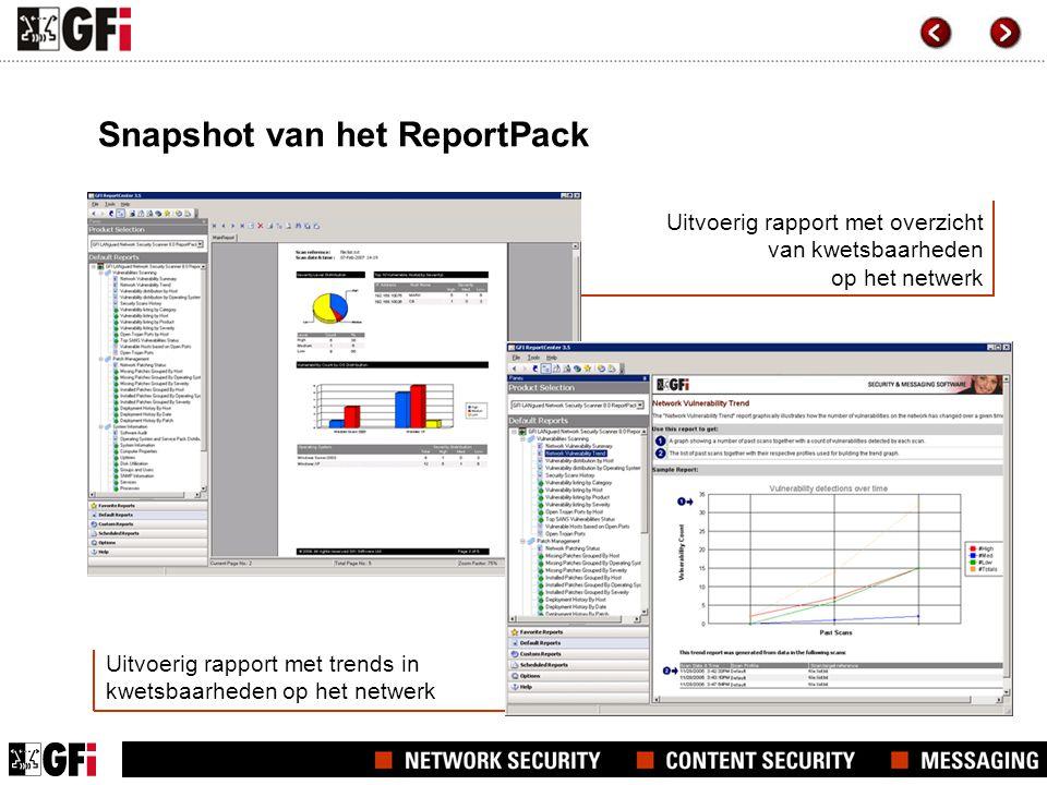 Uitvoerig rapport met overzicht van kwetsbaarheden op het netwerk Uitvoerig rapport met trends in kwetsbaarheden op het netwerk Snapshot van het ReportPack