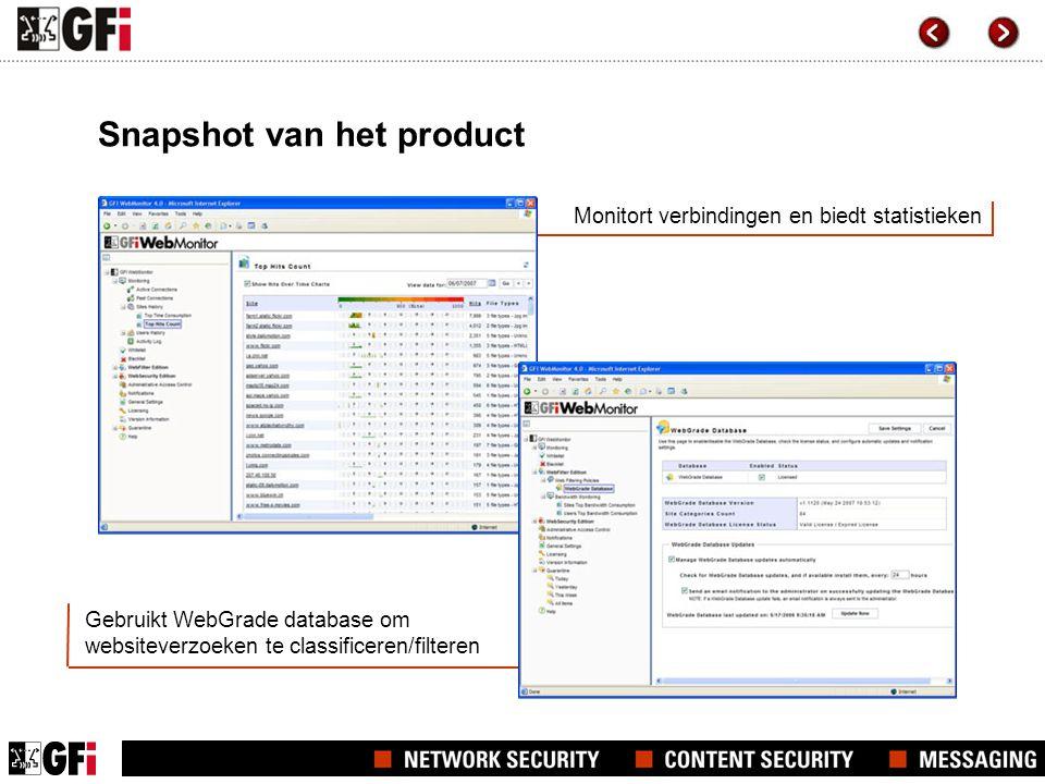 Monitort verbindingen en biedt statistieken Snapshot van het product Gebruikt WebGrade database om websiteverzoeken te classificeren/filteren