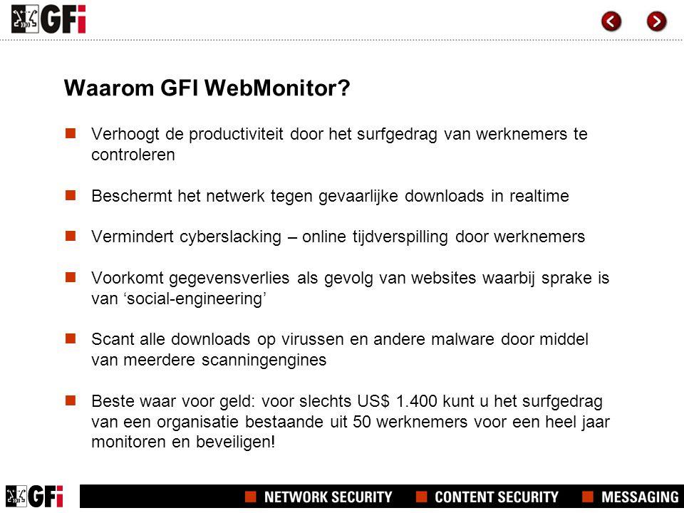 Waarom GFI WebMonitor?  Verhoogt de productiviteit door het surfgedrag van werknemers te controleren  Beschermt het netwerk tegen gevaarlijke downlo