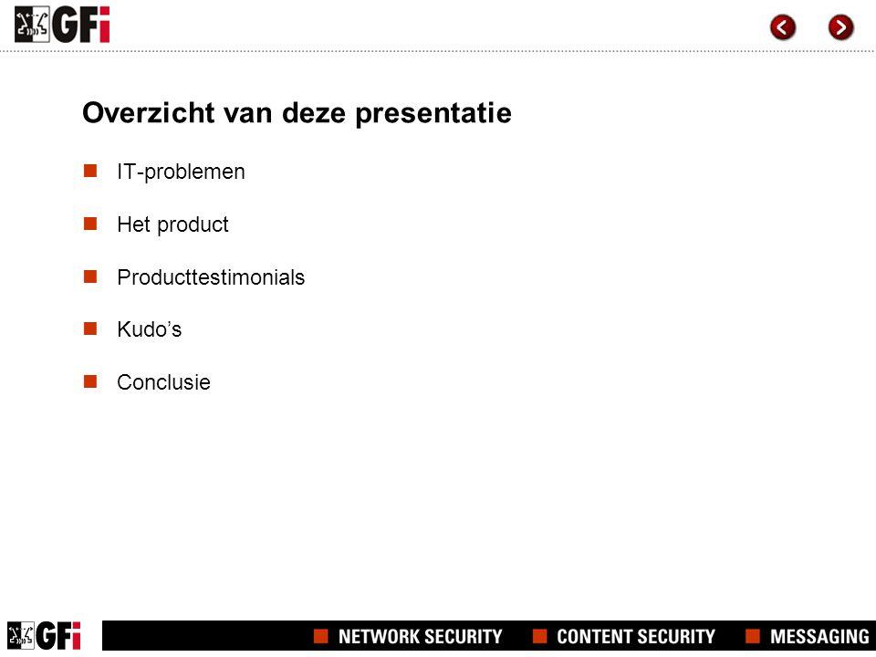 Overzicht van deze presentatie  IT-problemen  Het product  Producttestimonials  Kudo's  Conclusie