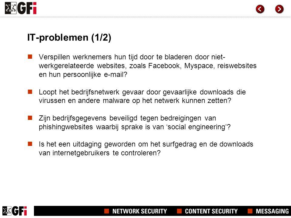 IT-problemen (2/2)  98% van de onderzochte organisaties hebben antivirussoftware geïnstalleerd; toch beweert 84% dat zij minstens een keer in de loop van het jaar door een virus getroffen worden.