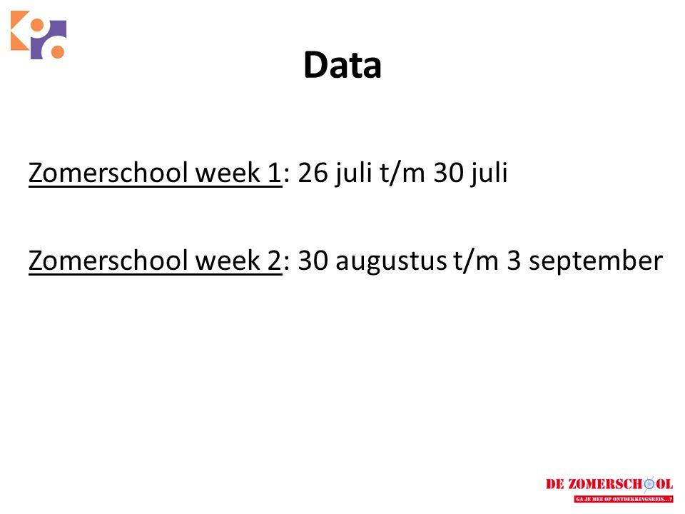 Data Zomerschool week 1: 26 juli t/m 30 juli Zomerschool week 2: 30 augustus t/m 3 september
