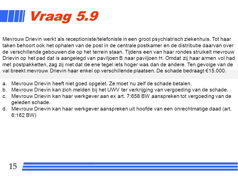 15 Vraag 5.9 Mevrouw Drievin werkt als receptioniste/telefoniste in een groot psychiatrisch ziekenhuis.
