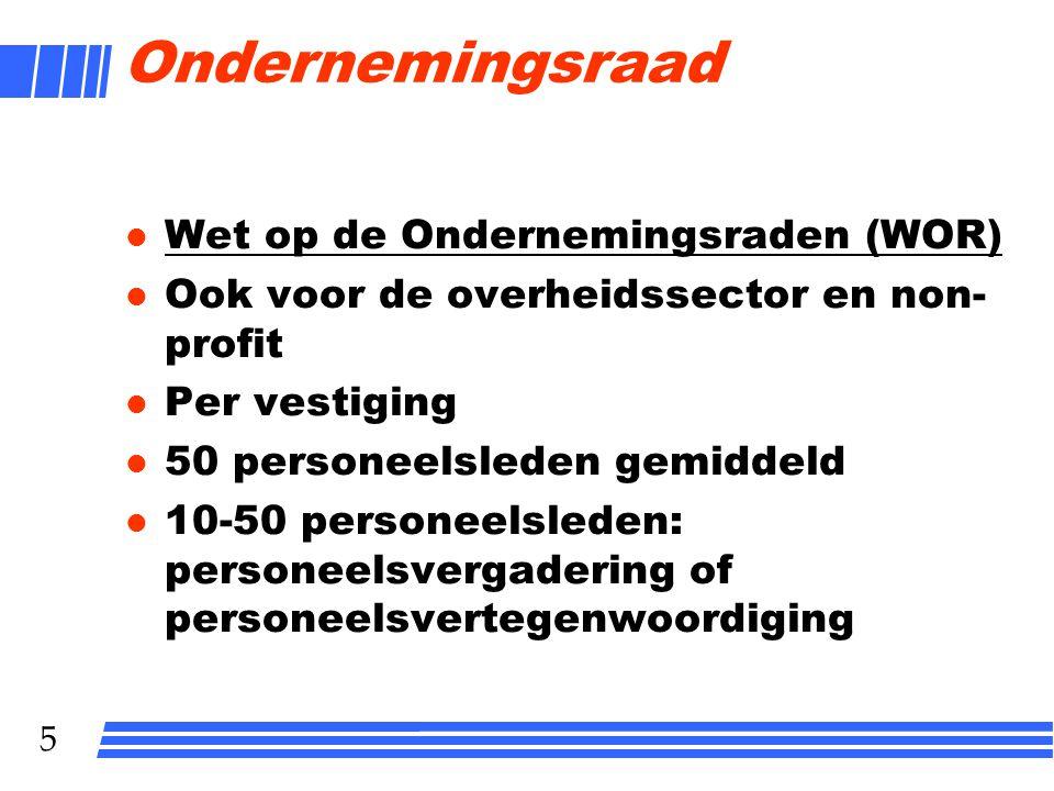 6 Rechten OR l Overleg met de bestuurder (= persoon die leiding onderneming heeft); overlegvergadering l Recht van initiatief l Recht op informatie l Recht op advies (art.