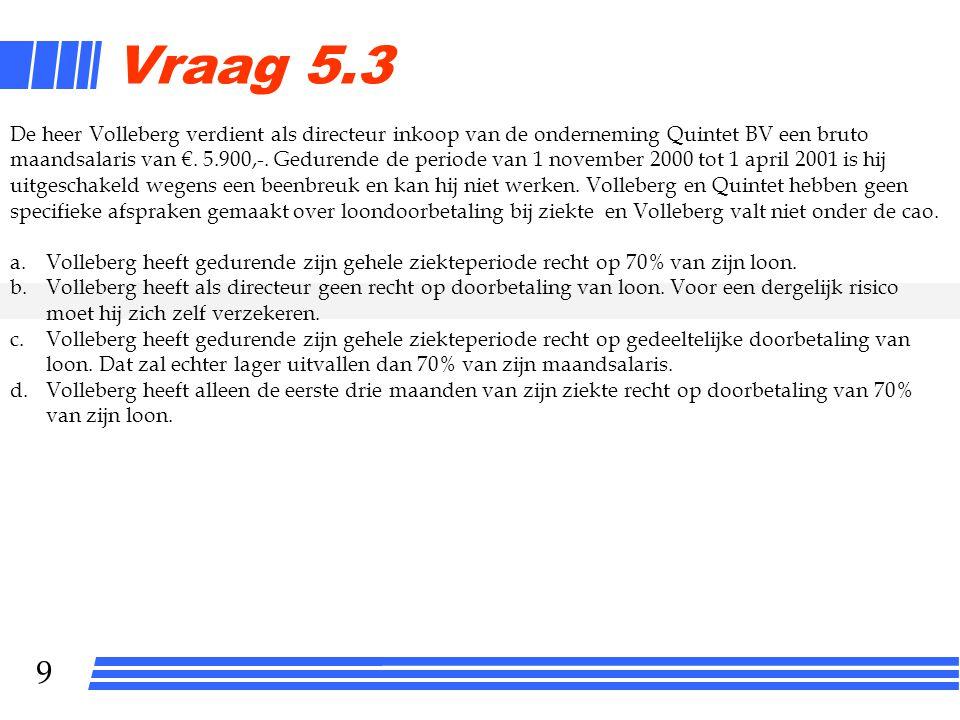 9 Vraag 5.3 De heer Volleberg verdient als directeur inkoop van de onderneming Quintet BV een bruto maandsalaris van €.