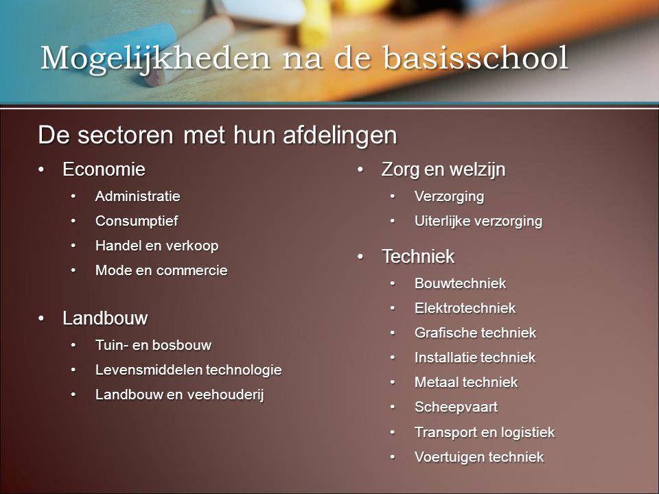 Mogelijkheden na de basisschool De sectoren met hun afdelingen •Economie •Administratie •Consumptief •Handel en verkoop •Mode en commercie •Landbouw •