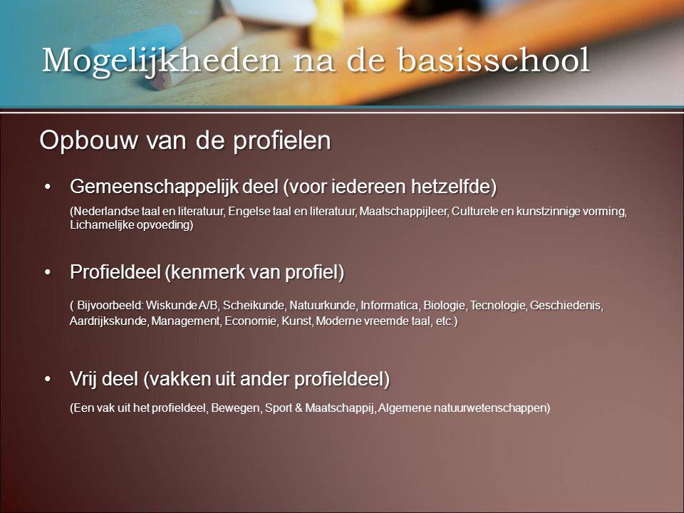 Mogelijkheden na de basisschool Opbouw van de profielen •Gemeenschappelijk deel (voor iedereen hetzelfde) (Nederlandse taal en literatuur, Engelse taa