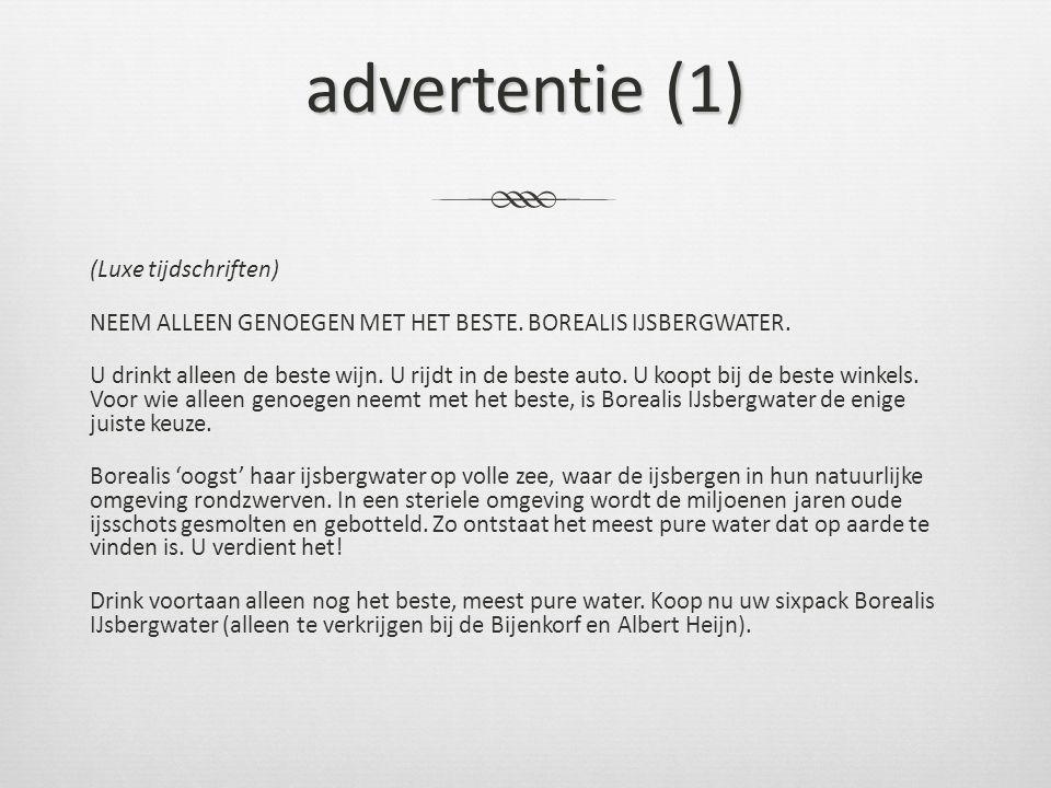 advertentie (1) (Luxe tijdschriften) NEEM ALLEEN GENOEGEN MET HET BESTE.