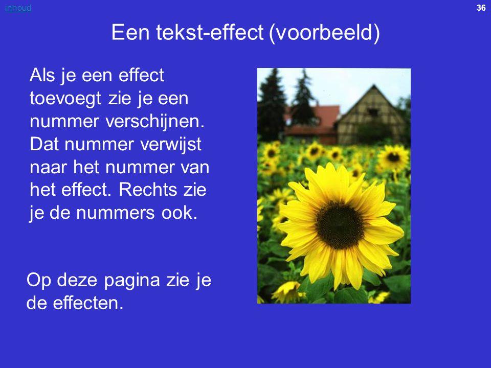 36inhoud Een tekst-effect (voorbeeld) Als je een effect toevoegt zie je een nummer verschijnen. Dat nummer verwijst naar het nummer van het effect. Re